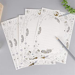 8pcs Cute Vintage Gilding Letter Papers Set Kawaii Stationery Wedding Invitation Card Writing Pad Letter Writing Paper (Co...
