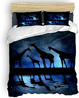 MIGAGA Queen Size 4 Piece Fashion Duvet Cover Sets Bedding Set for Girls Boys,The Shadow of Giraffe Star Pattern Bed Sheet Set,Duvet Cover Flat Sheet and Pillow Cases
