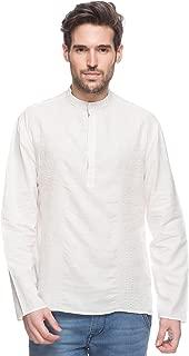 Shatranj Men's Indian Short Kurta Tunic Banded Collar Textured Shirt