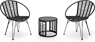 Great Deal Furniture Carrie Outdoor Modern Boho 2 Seater Wicker Chat Set with Side Table, Gray and Black