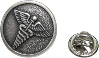 Kiola Designs Silver Toned Round Medical Caduceus Symbol Lapel Pin