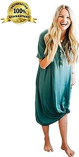 Nesting Olive Buttery Soft Modern House Dress | Night Gown, Sleep Shirt, Nursing and Pregnancy Dress