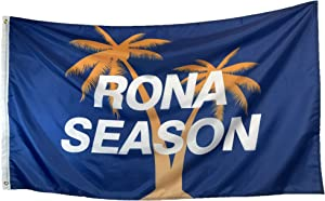 BelleJunge Rona Season flag 3x5ft Double Stitched, Brass Grommets, Funny Drinking Corona Beer College Dorm Frat Wall Room Decor Men Women Girls Guys Blue, Yellow, and White