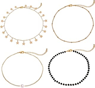 Gold Star Pearl Choker Necklace -4 Pieces Set Dainty Pendant Handmade Necklace for Women Girls … … … … …
