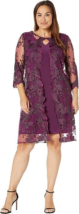 Short Embroidered Elongated Mock Jacket Dress