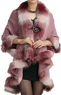 Helan Women's Warm Luxury Style Faux Fur Double Layers Cloak Cape Coat