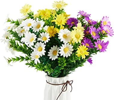 PONKING Daisies Artificial Flowers, 6 Pack Fake Colorful Daisy Plant Bouquet for Home Table Centerpieces Decoration (Multi-Color)