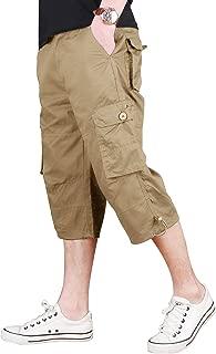 CRYSULLY Men's Casual Cotton 3/4 Pants Elastic Waistband Shorts Loose Fit Knee-Length Cargo Shorts