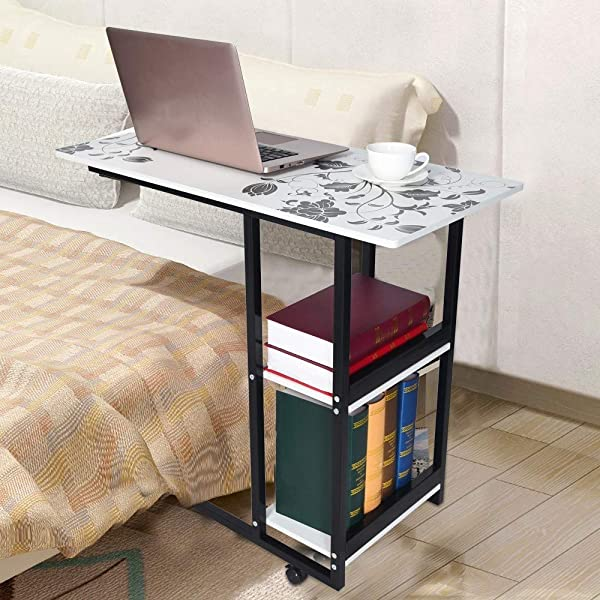 KCPer Folding Laptop Standing Table Mobile Overbed Table Computer Desk Bed Side Table Foldable Sofa Breakfast Tray Notebook Stand Reading Holder Floor For Couch US Stock