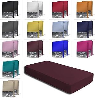 one-home Lot de 2 draps-housses en jersey de coton doux avec bord élastique - Couleur : bordeaux - Dimensions : 180-200 x ...