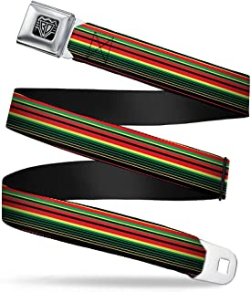 """Buckle-Down Unisex-Adult's Seatbelt Belt Regular, Stripe Transitions Black/red/Green/Yellow, 1.5"""" Wide-24-38 Inches"""