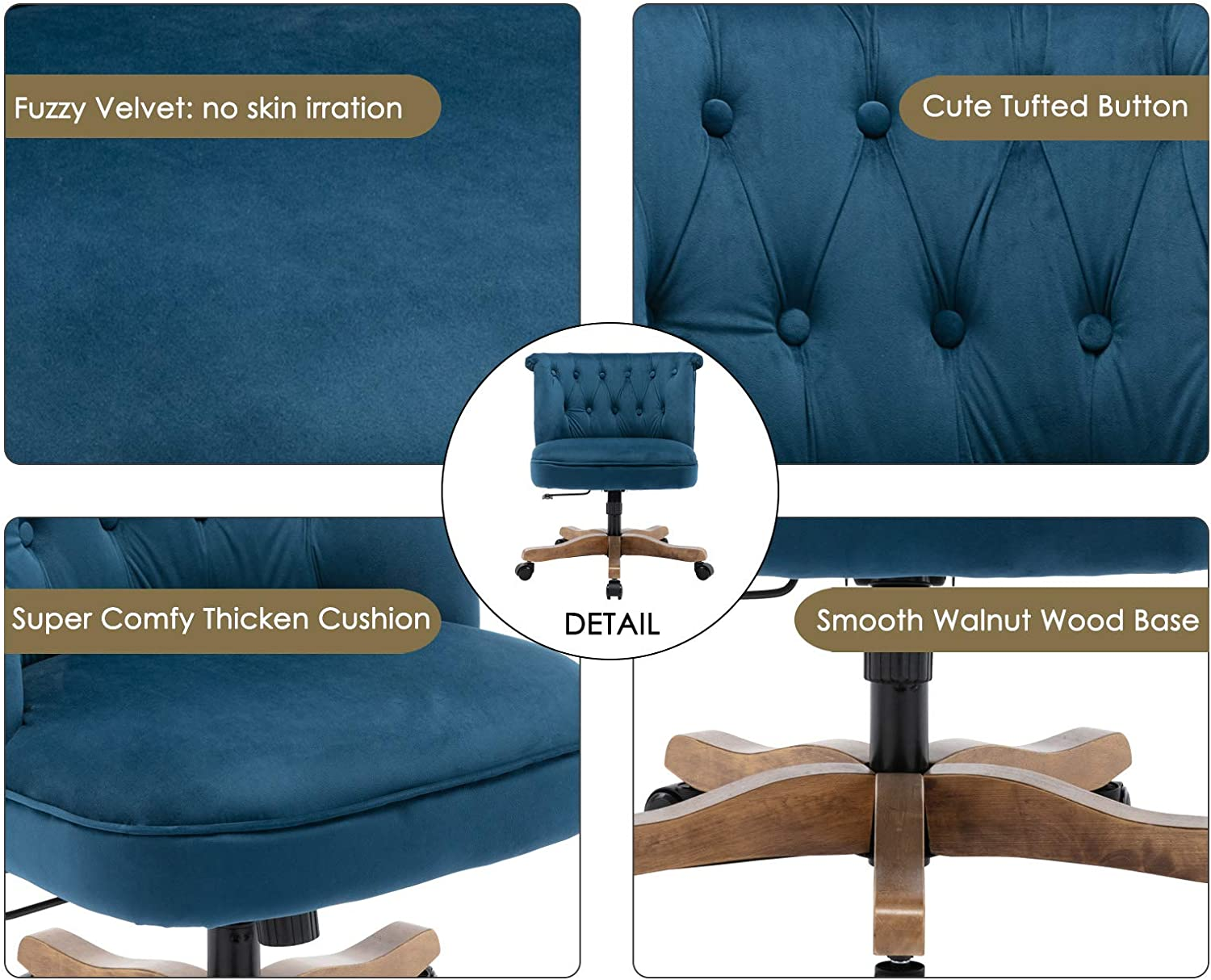 Guyou Upholstered Fabric Desk Chair Tufted Button Armless Office Chair Adjustable Vanity Task Chair with Swivel Wood Base for Living Room//Home//Girls//Boys Beige Linen