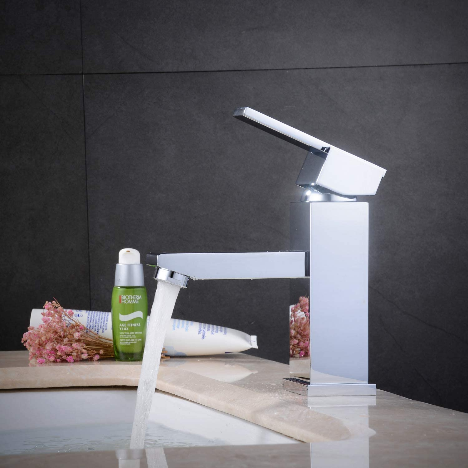 XINXI HOME Bathroom Sink Basin Mixer Tap Brass Mono Tap with Fittings, Brushed Nickel, Square Style