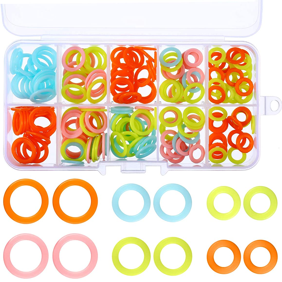 Blulu 200 Pieces Knitting Marker Rings Stitch Rings Markers Crochet Locking with Plastic Storage Box, 3 Sizes, Assorted Colors