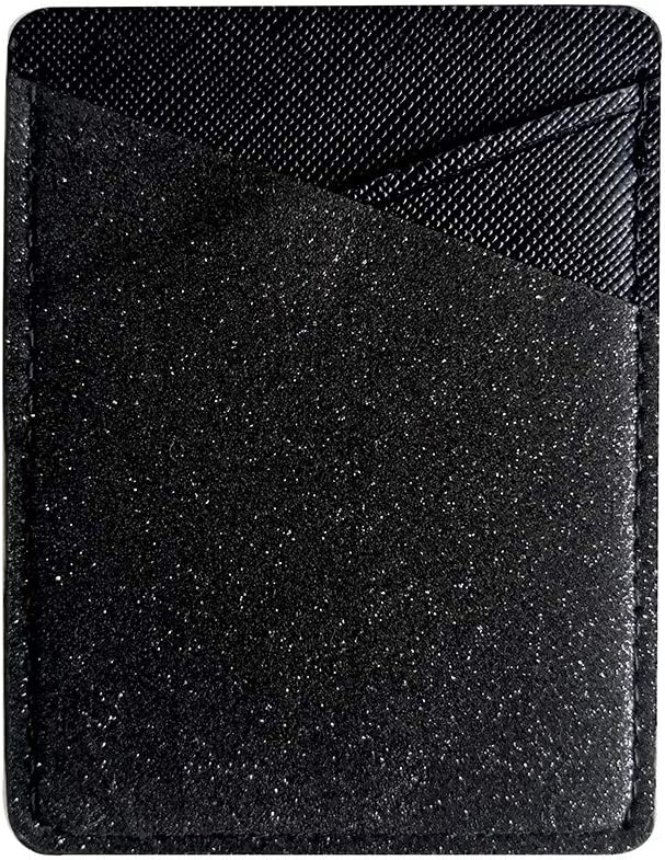 lenoup Bling Bling PU Leather Stick on Cell Phone Wallet,Sparkly Cell Phone Card Holder Phone Pocket for Credit Card, Business Card ID and Keys(Black)