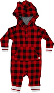 Snugabye Infant Buffalo Plaid Hooded Jumpsuit with Ears, 3-6 Months, Red