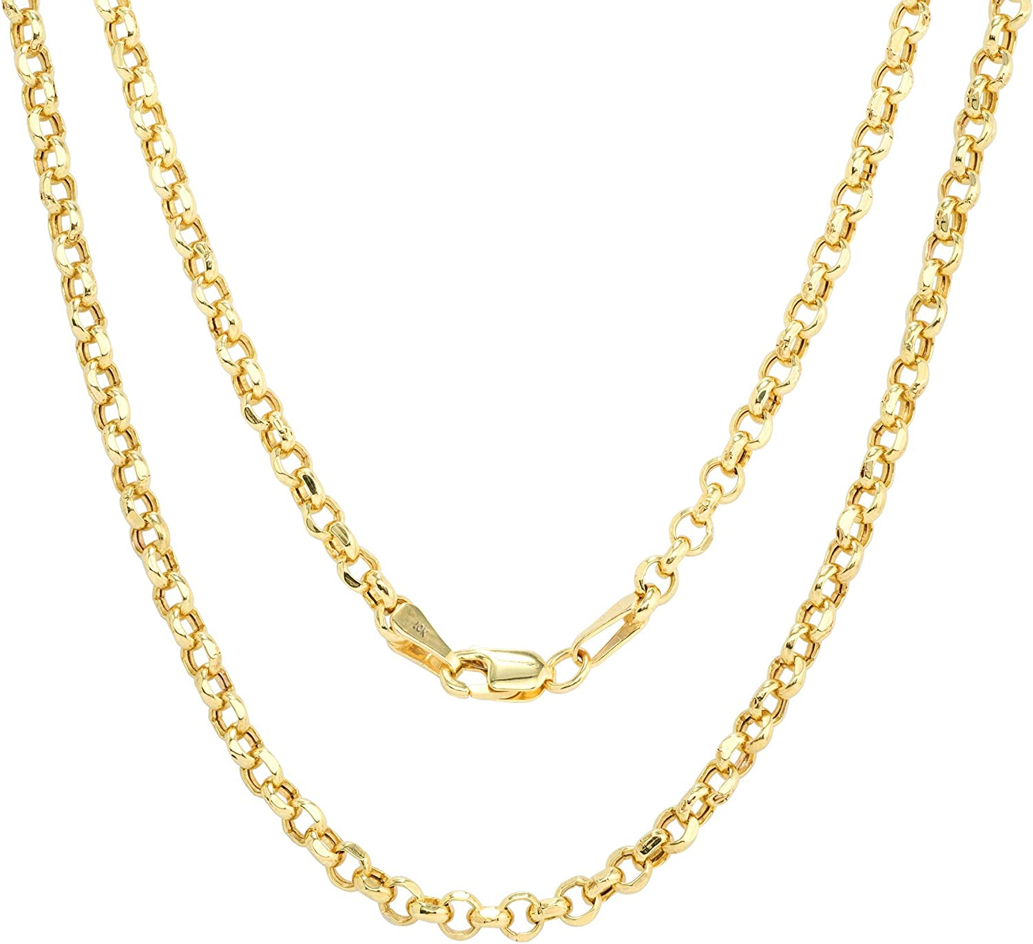 Nuragold 10k Yellow Gold 3mm Rolo Circle Cable Round Link Chain Pendant Necklace, Mens Womens Lobster Lock 16
