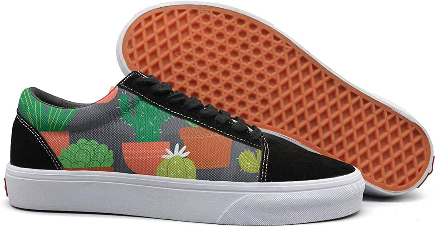Uieort Cactus Plants colorful Graphic Design Drawing Womens Lace up Canvas shoes Lightweight