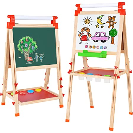Wood, Fit for 3-12 Years Old and Storage Bins or Tray Whiteboard Standing Easel with Magnetic Letters for Early Education Gimilife Deluxe Easel for Kids Folding Wooden Art Easel with Chalkboard