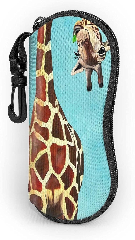 Funny Giraffe Sunglasses Soft Case With Carabiner Zipper Ultra Light Portable Neoprene Waterproof Eyeglasses Cases For Men & Women