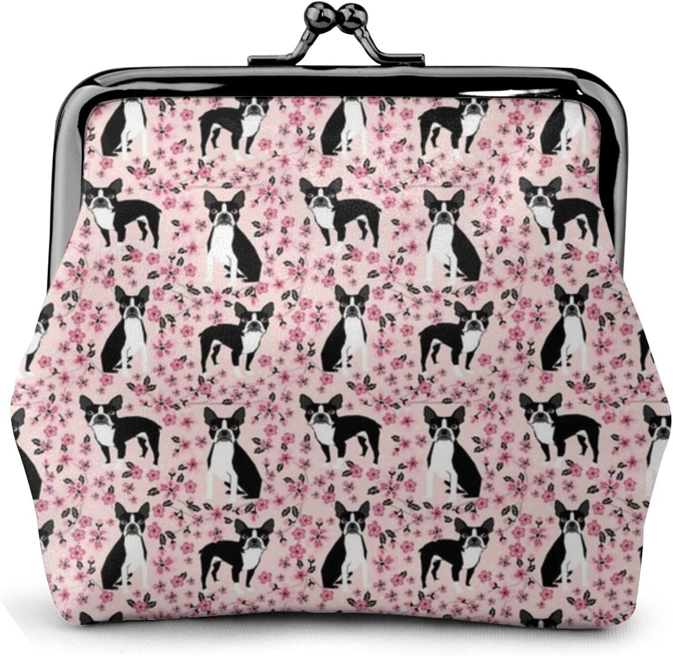 Boston Terrier Cherry 948 Leather Coin Purse Kiss Lock Change Pouch Vintage Clasp Closure Buckle Wallet Small Women Gift