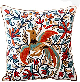 Bohemia Exotic Embroidery Decorative Pillow Cover 18×18 Exquisite Handmade Cotton..