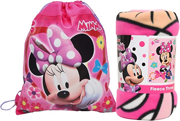 Disney Northwest Minnie Mouse Fleece Throw Blanket Sling Tote Bag 2 Pc Set
