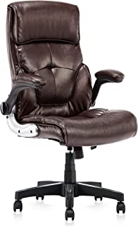 High Back Leather Office Chair - Adjustable Tilt Angle and Flip-up Arms Executive Computer Desk Chair, Thick Padding for Comfort and Ergonomic Design for Lumbar Support, Brown