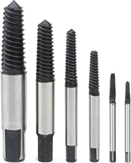 Rowiz 6PCS Alloy-Steel Spiral Screw Extractor Set, Damaged Screw Broken Bolt Water Pipe Remover Kit Tool for Car Repair (Black Silver)