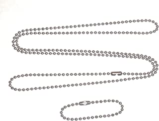 Stainless steel 4.5 in and 27 in. military dog tag ball chain Ships in 1-2 days from USA!
