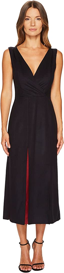Jil Sander Navy - Wool Sleeveless V-Neck Dress