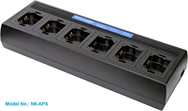 Six Unit Intelligent Charger for Motorola Radios APX6000 APX6000XE APX6000LI APX7000 APX7000XE APX8000 APX8000XE APX8000H APX8000HXE (APX 6000 7000 8000), Multi Gang Rapid Charging Station