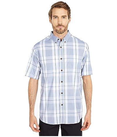 Dickies Relaxed Fit Flex Short Sleeve Plaid Shirt (Cool Blue Navy Plaid) Men