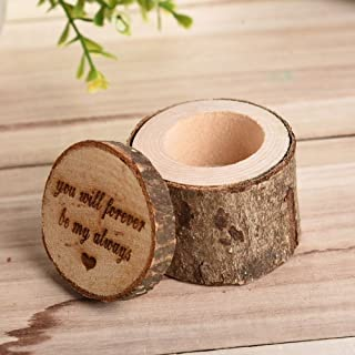 bromrefulgenc Rings Boxes,Rings Container hodler for Wedding Bridal Birthday Party Decors,Retro Rustic Wedding Lettering Rings Bearer Box Case Holder Jewelry Display