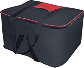 Storite Nylon Big Underbed Storage Bag Moisture Proof Cloth Organiser with Zippered Closure and Handle(BlackRed, 54x46x28cm)