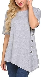 Sweetnight Women Casual Short Sleeve Long Sleeve Side Button T Shirt Blouse Top Plus Size