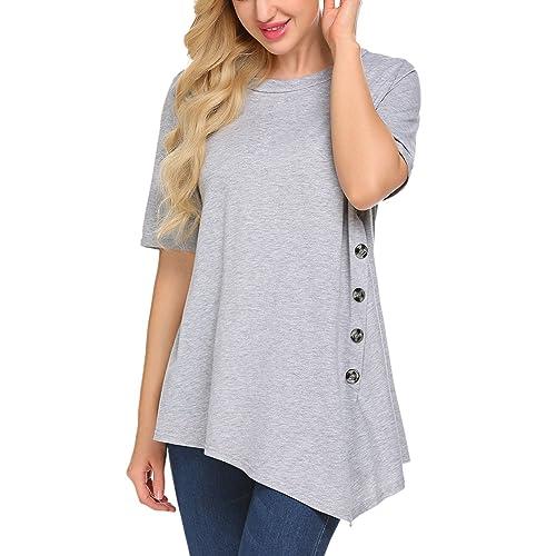 462c9b4d702 Sweetnight Women s Casual Short Sleeve Side Button T-Shirt Blouse Tunics  Top Plus Size