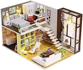 XYZMDJ Dockhus miniatyr, gör-det-själv dockhus kit handgjorda mini Plus duplex hus modell med verktyg musikbox