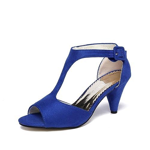 GATUXUS Women Open Toe Ankle T-Strap Kitten Heel Mary Jane Shoes Mid Heel  Sandals
