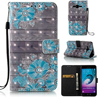 FlREFlSH Galaxy J3/J310 case, Durable Magnetic Closure Card Slots Impact Resistant Protective Shockproof Cover Case Premium Thin Synthetic Leather Crystal Wallet Cover Case for Samsung Galaxy J3/J310