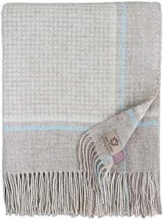 Beige//Blanc de Lait Couverture en Laine 140 x 200cm Linen /& Cotton Plaid Couvre-Lit de Anna 100/% Laine Merinos
