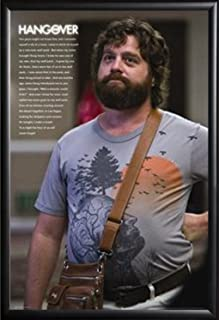 Framed One Man Wolfpack - The Hangover 24x36 Zach Galifianakis Poster in Basic Black Detail Wood Frame