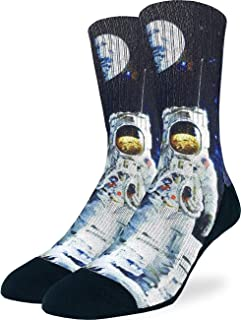Good Luck Sock Men's Apollo Astronaut Socks - Black, Adult Shoe Size 8-13