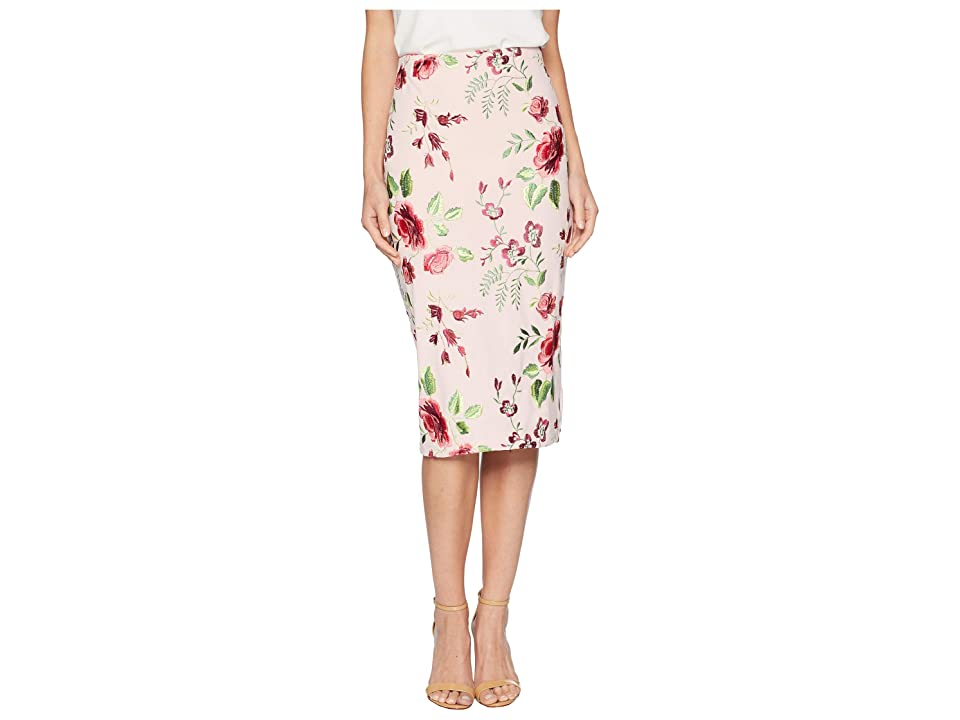 eci Embroidered Midi Skirt (Pink/Blush) Women