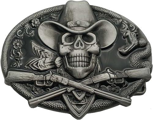 YONE Western Cowboy Skull Pirate Rifles Belt Buckle