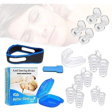 Dispositivos Anti Ronquidos Soluciones,4 Dilatadores nasales antironquidos-1 Boquilla antironquidos,correas para la barbilla anti-ronquidos,Antirronquidos Nariz Solucion Ayuda para Dormir Apnea,Anti-ronquidos Solución para dejar de roncar (8 pack)