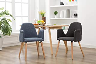 Porthos Home Dining Chair With Fabric upholstery Mid BackArm Rest and Wooden Legs (Available In Blue And Black), One Size, Grey
