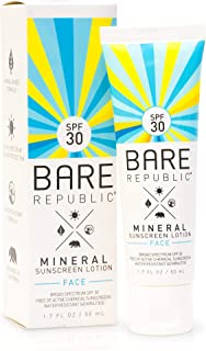 Bare Republic Mineral Face Sunscreen Lotion. Lightweight, Unscented and Water-Resistant Face Moisturizer, 1.7 Ounces.