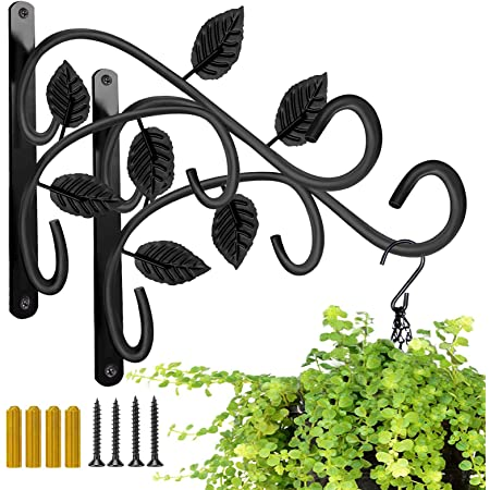 Hanging Plant Bracket, JUNBEI 12 Inches Wall Mount Hanging Plant Hook, Rust-Resistant Decorative Metal Plant Hanger for Hanging Plant Flower Lantern Bird Feeder Wind Chimes (Set of 2)