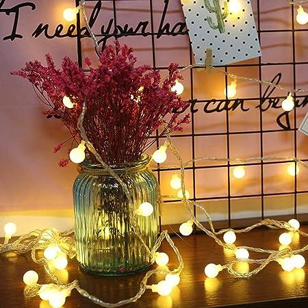 COOLBOTANG 可愛くて小さなボール LEDイルミネーションライト 5m 40球根 電飾led ストリングライト 電池式 フェアリーライト ワイヤーライト 新年 LEDライト 飾り 防水 結婚式 キャンプ用 誕生日 パーティー電飾 (ウォームホワイト)